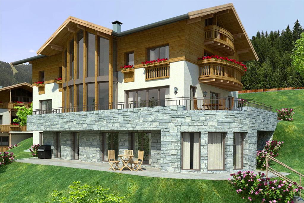 Bilder aus dem Beitrag: 3D Architekturvisualisierung ''Mountain DeLuxe'' (Exteriors)