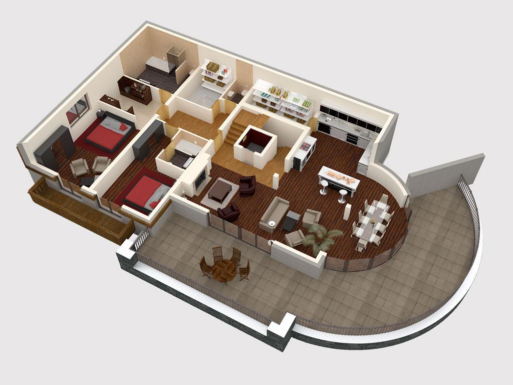 Bilder aus dem Beitrag: 3D Architekturvisualisierung ''Mountain DeLuxe'' (Grundrisse)