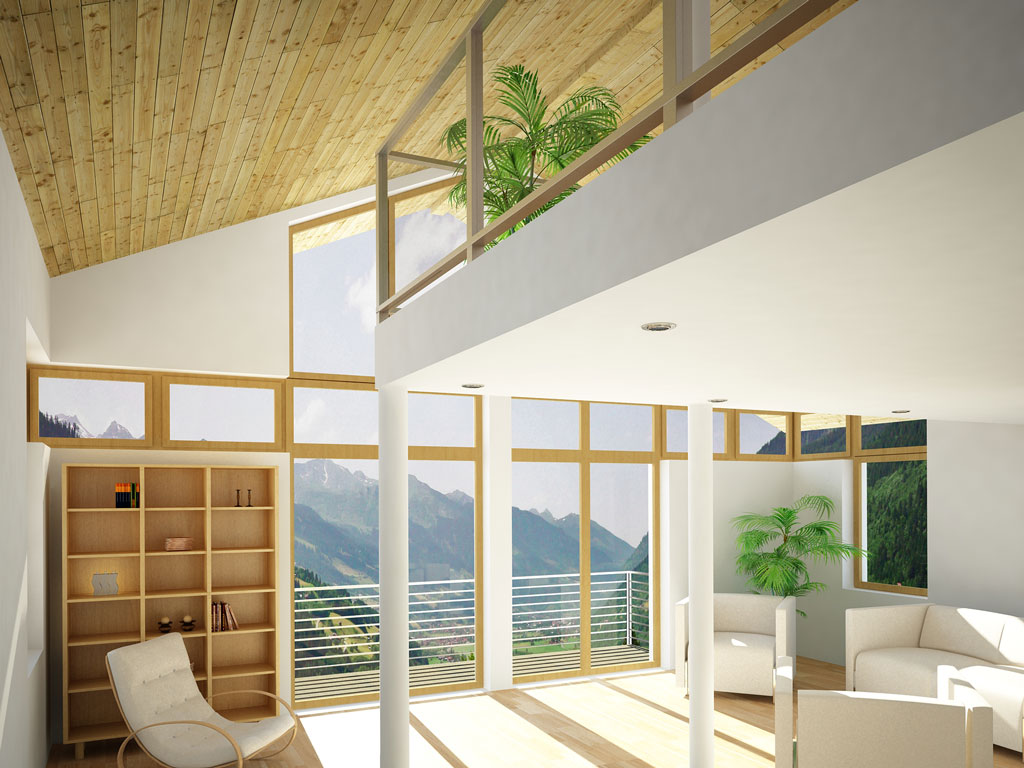 Bilder aus dem Beitrag: 3D architectural visualization ''Mountain deluxe'' (interiors)